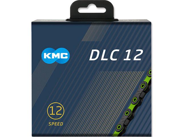 KMC DLC 12 Cadena 12-Vel 126 Eslabones Cadena, negro/verde